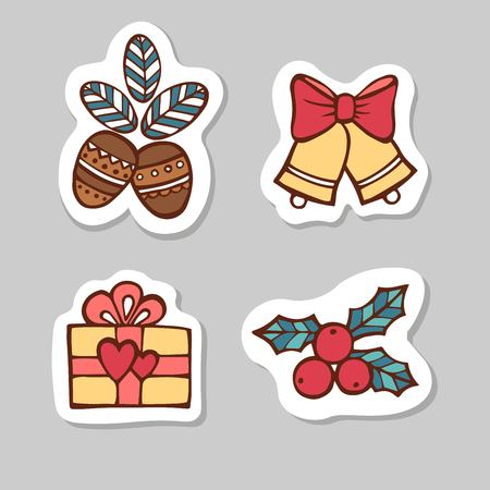 Set of nuts, bells, gift box, berries. Sticker set for your web design. Xmas holiday. Happy New Year Stock Photo