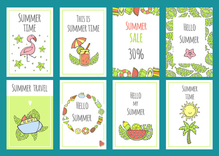 Summer set of sale banner templates with cute hand drawn design elements, handwritten lettering and textures. Vector illustration for your web design. Summertime