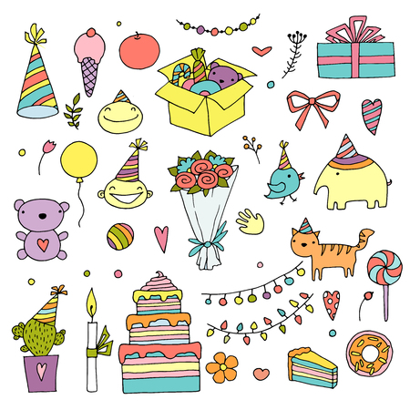 Happy birthday color doodle set. Hand drawn vector illustration. Birth day home holiday. On white background for your web design