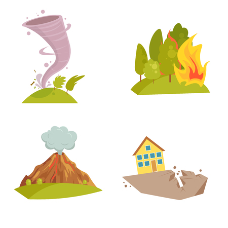 Natural cataclysm icons set. Tsunami wave, tornado swirl, flame meteorite, volcano eruption, sandstorm, deglaciation, storm. Cartoon style color icon. Vector illustration isolated on white background. 일러스트
