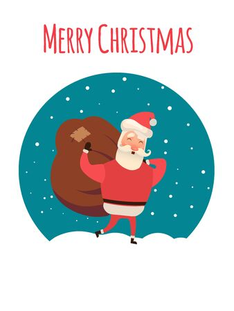 Santa Claus carrying sack full of gifts. Xmas time. Christmas coming. Vector illustration for your web design