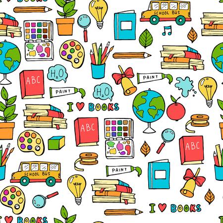 Modello di ritorno a scuola colorato senza cuciture con elementi fissi e creativi di forniture. Sfondo colorato divertente carino linea vettoriale Vettoriali