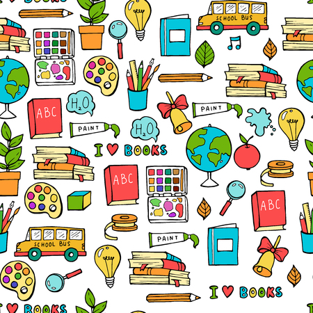 Seamless colored back to school pattern with supplies stationary and creative elements. Colorful fun cute vector line background Ilustracja