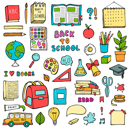 Back to school hand drawn doodles set with supplies Education sketchy icons on white background.