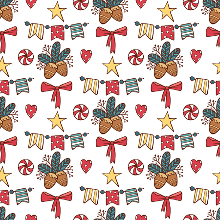 Seamless Christmas pattern with Santa clause, deer, tree, decoration, snowflakes and boxes. vector illustration. Xmas coming 写真素材 - 111592856