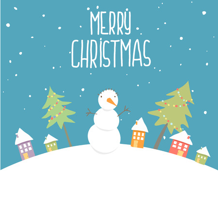 Greeting card with snowman, vector illustration.Concept winter background