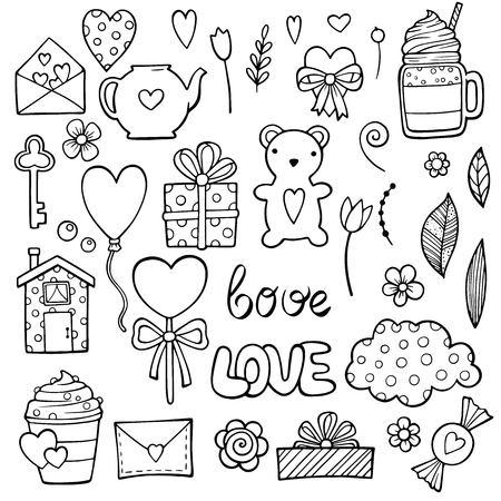 Nette romantische Aufkleber-Set für Valentinstag-Dating. Set von Dating-Artikeln. Verlobungsring, Champagner, rosa Ballons, Popcornpackung, Postkarte im Brief, Makronen, Herzlutscher, Süßigkeiten.