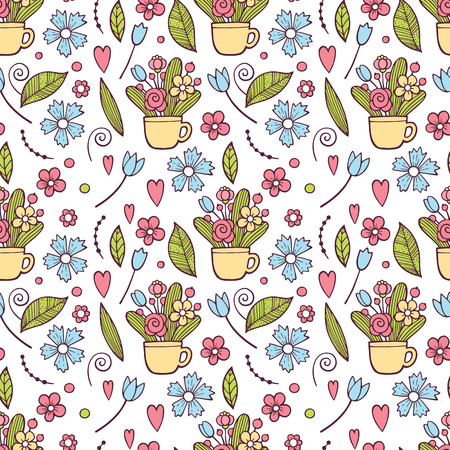 Cute Floral pattern in the small flower. Ditsy print . Motifs scattered random. Seamless vector texture. Elegant template for fashion prints. Printing with very small pink flowers. White background Illustration