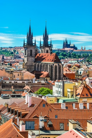 Cityscape of Prague, the St Vitus Cathedral is  visible in the distance