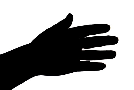 black female hand silhouette on white, close up photo