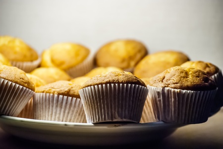 many muffins on big plate photo