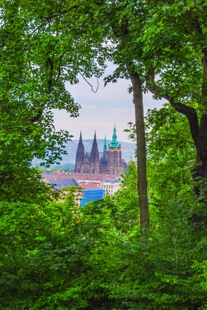 St.Vitus Cathedral seen from a hill photo