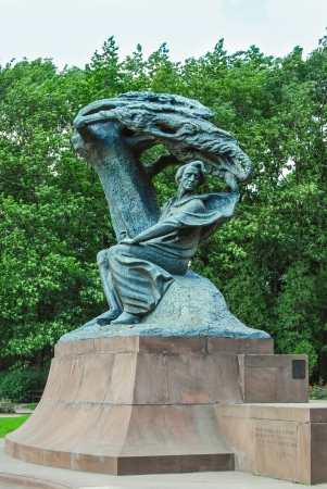 chopin heritage: monument of Chopin in Lazienki park. Warsaw, Poland.