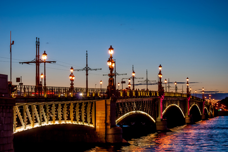 Trinity Bridge across the Neva in Saint Petersburg, Russia photo