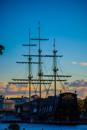ship bow: masts of an old ship Stock Photo