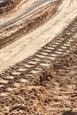 lot of tire tracks on sand under sun photo