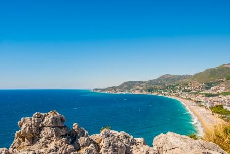 habor van Alanya en het Cleopatra strand, Antalya, Turkije Stockfoto