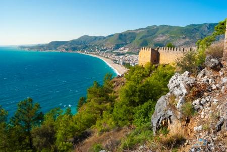 habor van Alanya, het kasteel, en Cleopatra strand, Antalya, Turkije Stockfoto