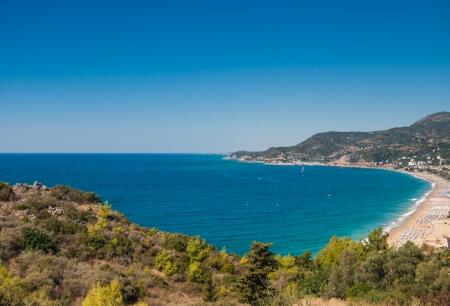 habor of Alanya and Cleopatra beach, Antalya, Turkey photo