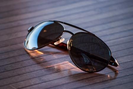 sunglasses on table photo
