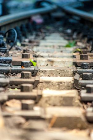 railtrack: view on a railroad, macro Stock Photo