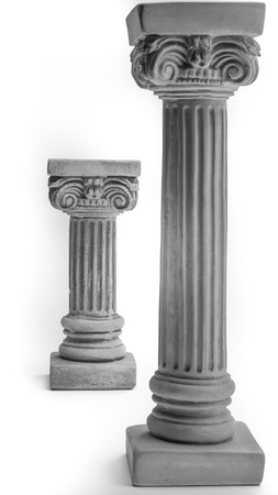 Two Ionic columns on white background photo