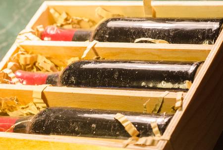 cabarnet: unopened bottles of wine in wooden box