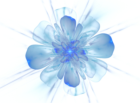 computer generated flower isolated on white, blue