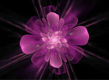 generated: computer generated flower isolated on black, purple