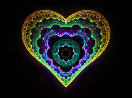 cuore giallo: beautiful yellow heart on black Archivio Fotografico