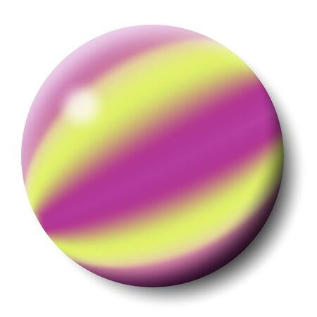 round button with purple and yellow stripes photo