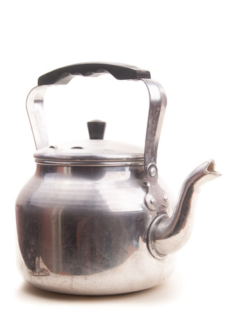 retro silver teapot, jug isolated on white background photo