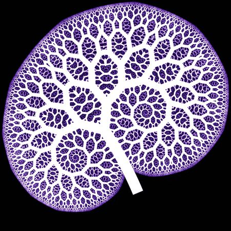 capillaries: white abstract pattern on purple as a concept metaphor for trees, flowers, or human organs