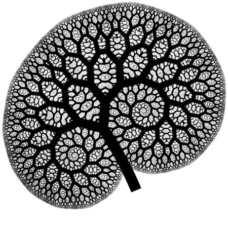 capillaries: black abstract pattern on white as a concept metaphor for trees, flowers, or human organs