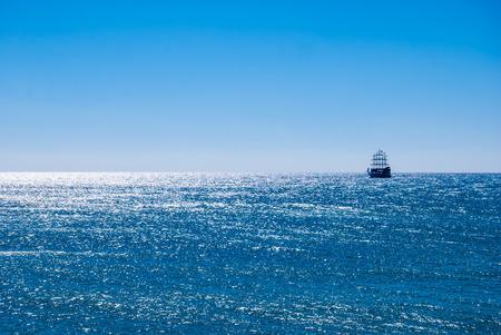 historic ship in sea 写真素材