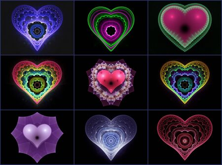 vollection of beautiful hearts on black photo