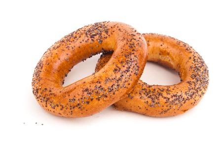 boublik: two russian bread rolls isolated on white