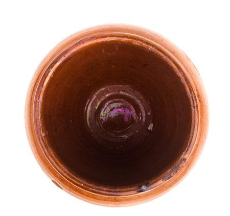 opened vintage ceramic pot isolated on white photo