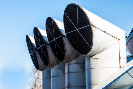 ventilation pipes of industrial building photo
