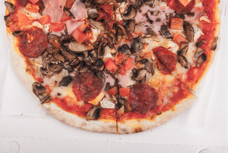 Pizza on table photo