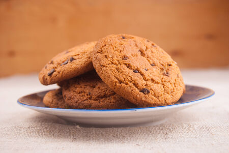 Oats cookies on plate photo