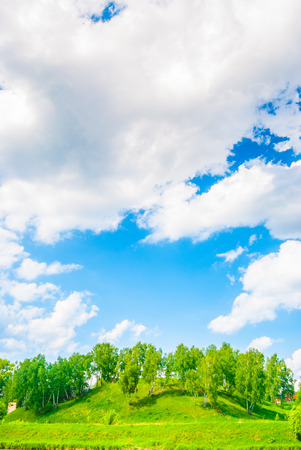 Spring landscape. Green trees and sunny sky with clouds. photo