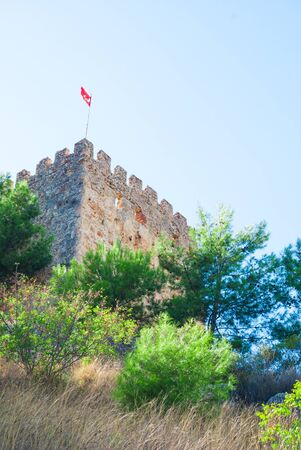 turkish flag on castle of Alanya, Antalya, Turkey