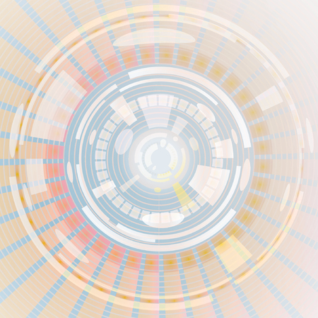 Composition of abstract radial grid and lights as a concept metaphor for technology, science and entertainment Illustration
