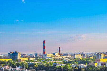 industrial landscape: Paesaggio industriale con una centrale termica Archivio Fotografico