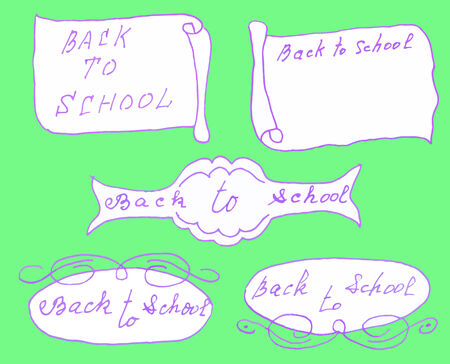 hand drown: Back to school. Hand drown message Illustration