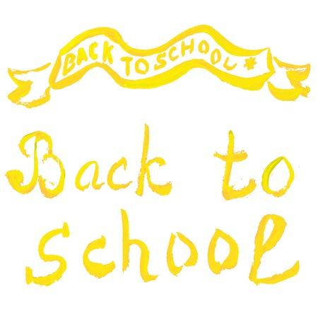 ahogarse: Volver a la escuela. Mensaje watecolor mano se ahoga Vectores