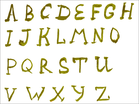 durty: Handwritten calligraphic watercolor alphabet Illustration
