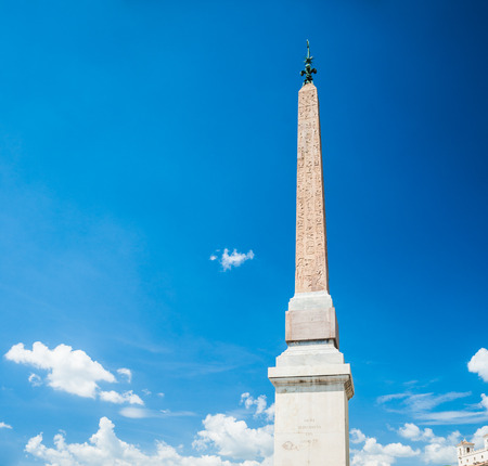 Obelisco Sallustiano. The obelisk crowns the world famous Spanish Steps in front of the church Trinita dei Monti. photo