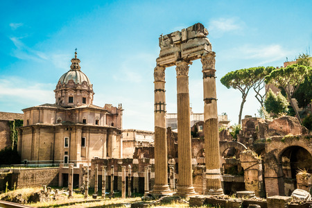 Ruins of the Roman Forum in Rome, Italy. Rome is the 3rd most visited city in the European Union. Reklamní fotografie